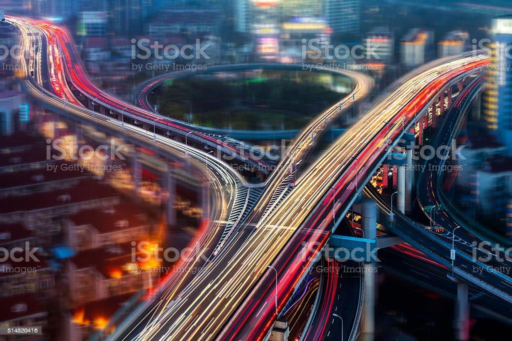 overpass at night stock photo