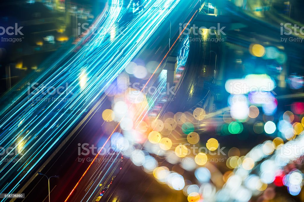 overpass at night stock photo