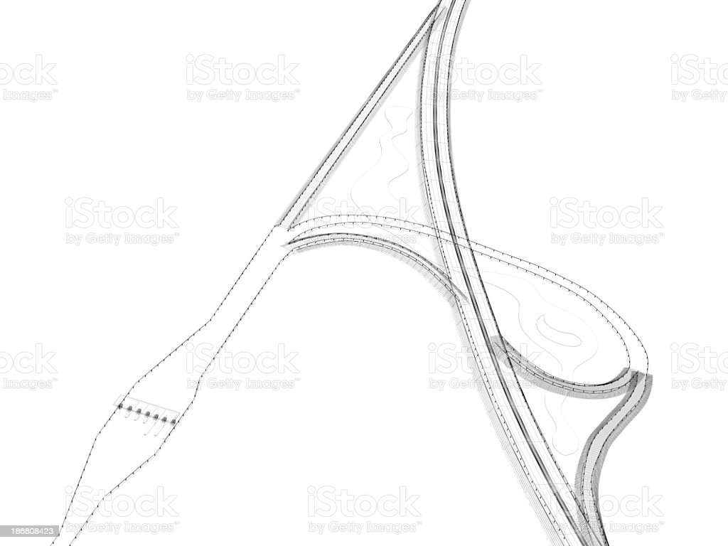 Overpass Blueprint WireFrame royalty-free stock photo