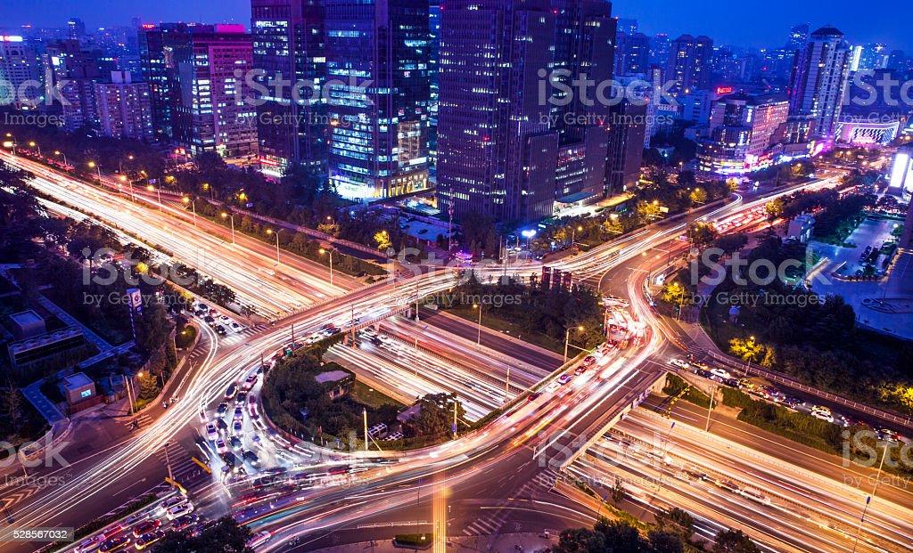 overpass in big city stock photo