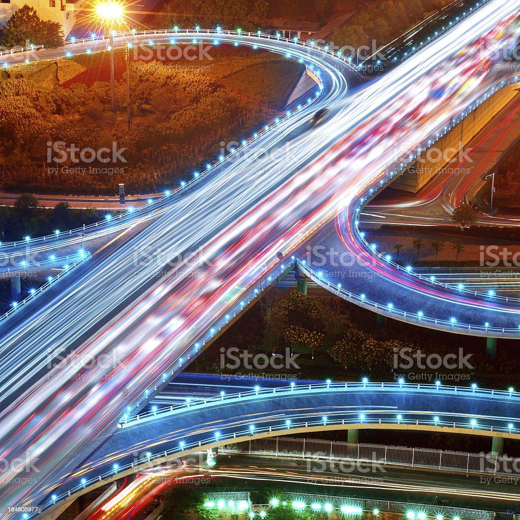 Overpass Night stock photo