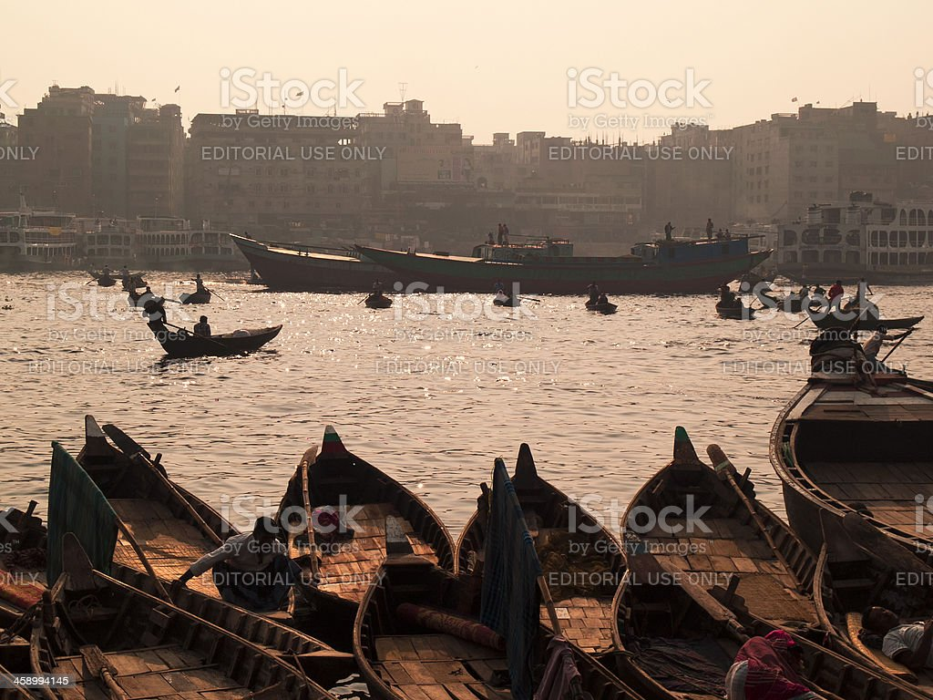 Overpopulation and pollution problems in Bangladesh stock photo