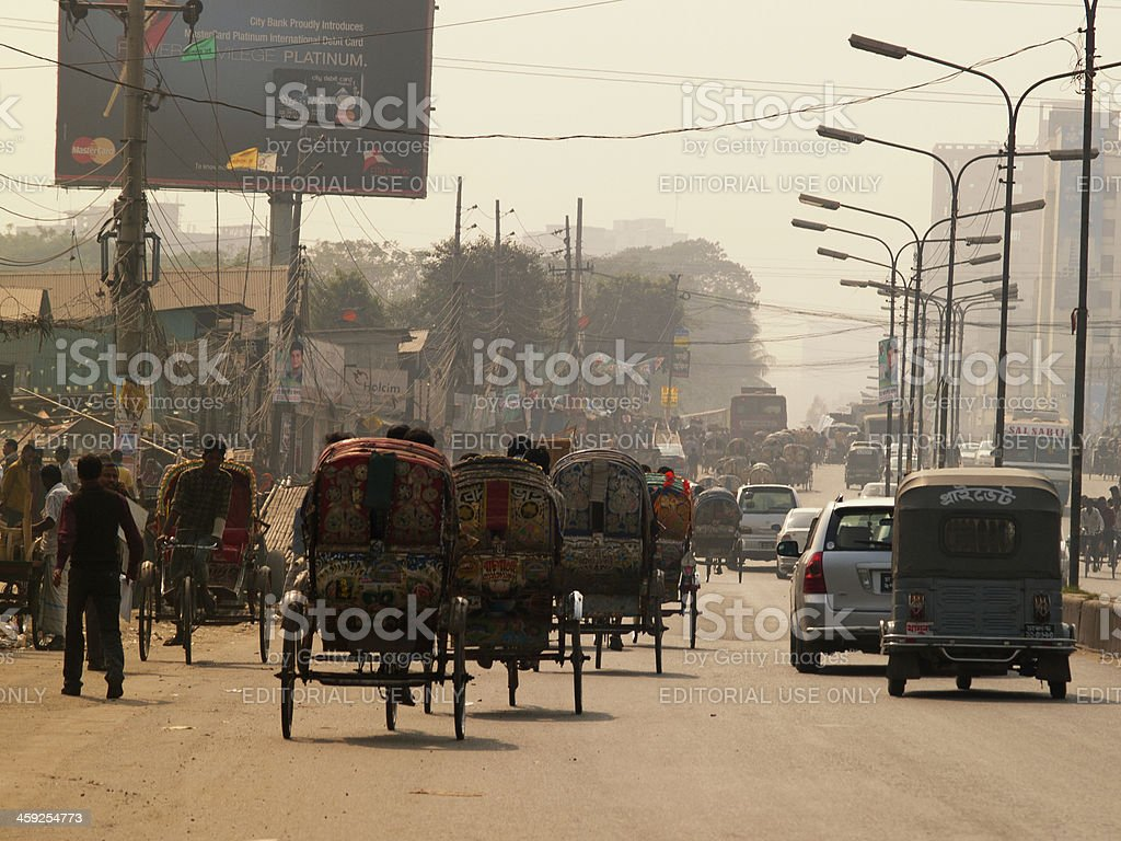 Overpopulation problem in Dhaka capital city of Bangladesh stock photo