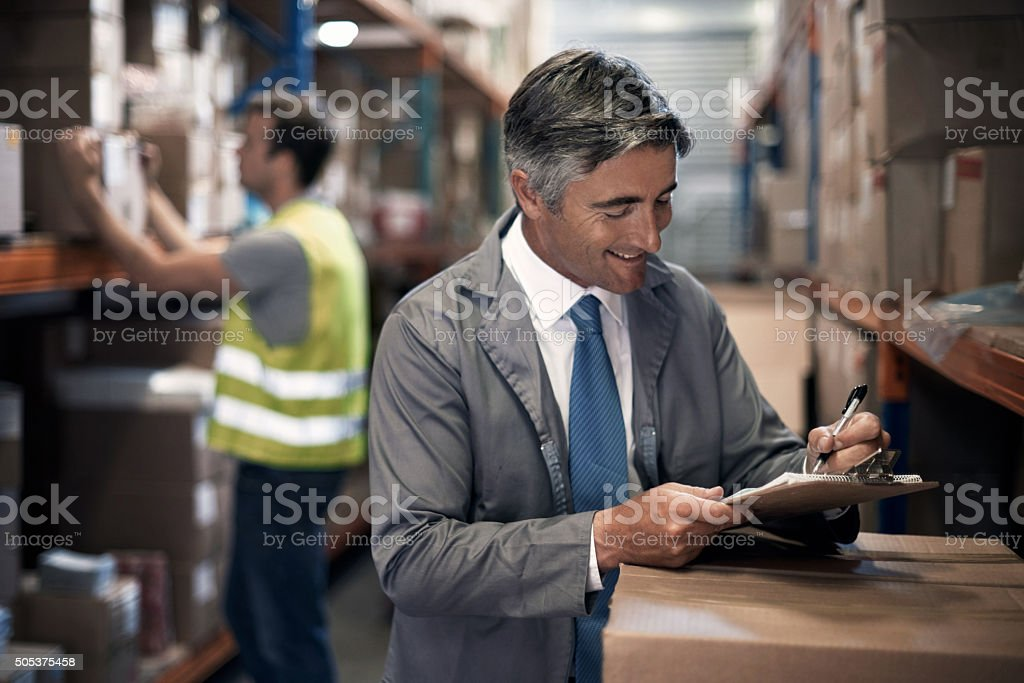 Overseeing the distribution process stock photo