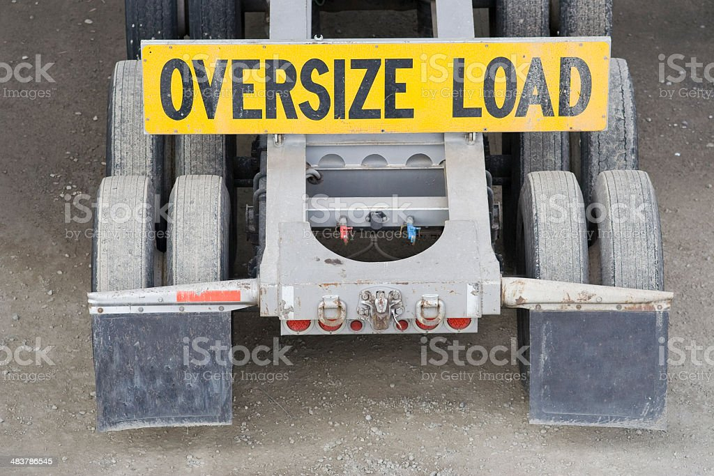Oversize Load on flatbed truck stock photo