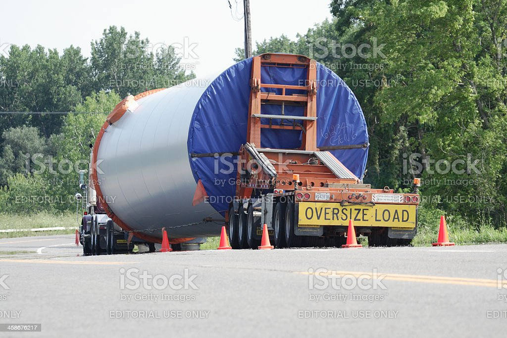Oversize Load Trailer Truck Parked Along Rural Highway stock photo