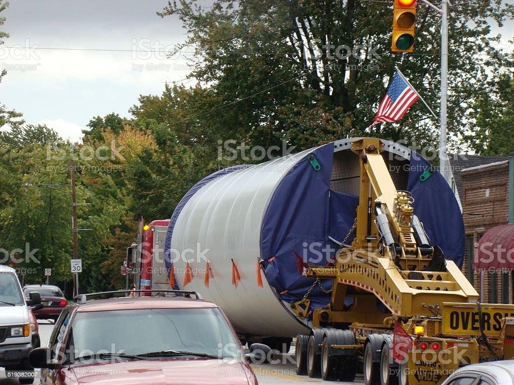 Oversize Load Trailer Truck stock photo