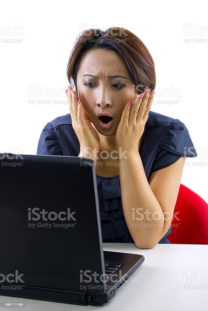 Overspending Asian Woman Checking Her Bank Account Online royalty-free stock photo