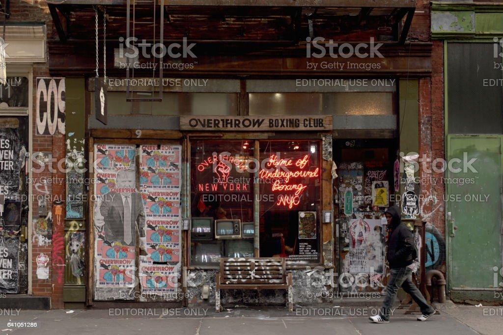 Overthrow Boxing Club at 9 Bleecker Street, New York stock photo