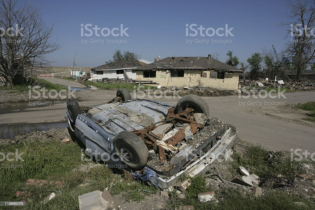 Overturned car near Industrial Canal stock photo