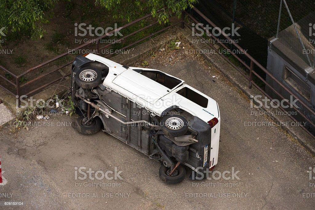 Overturned Fiat Panda after a Joyride car accident stock photo