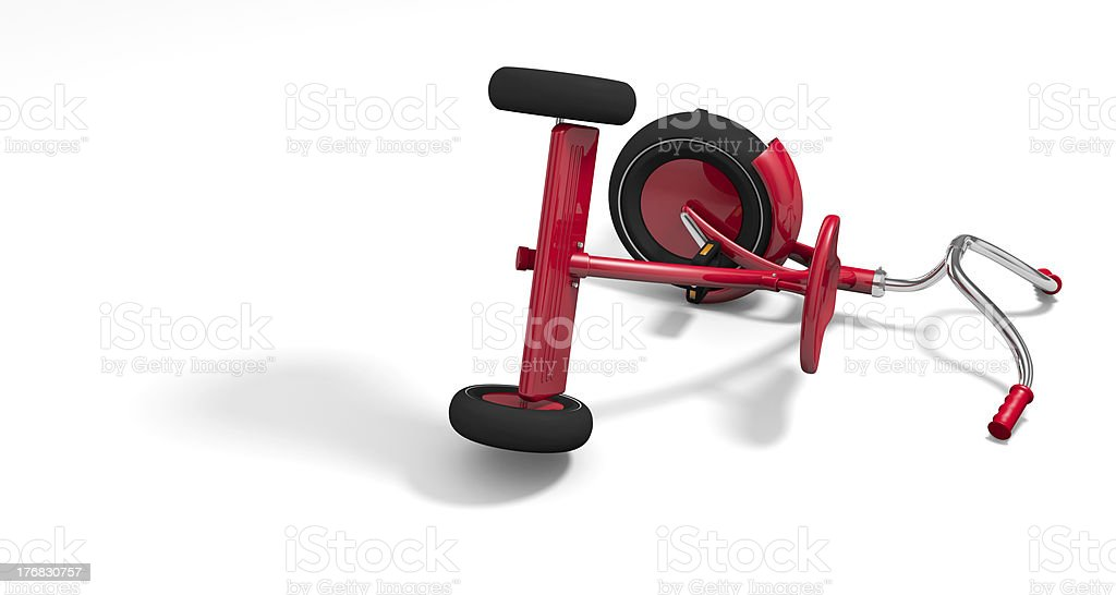 Overturned tricycle stock photo