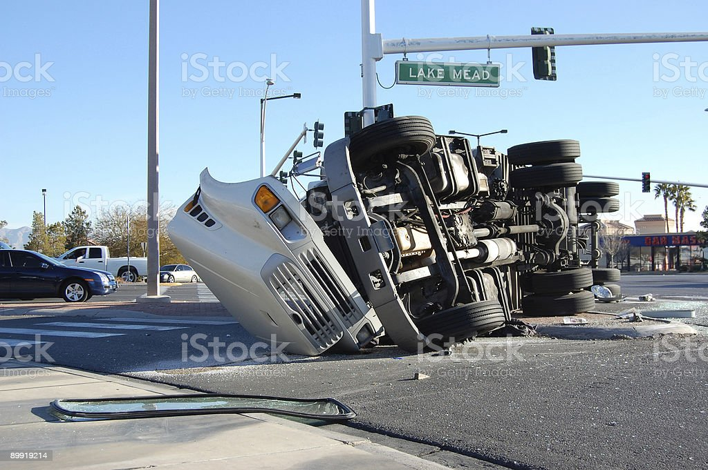 Overturned Truck stock photo