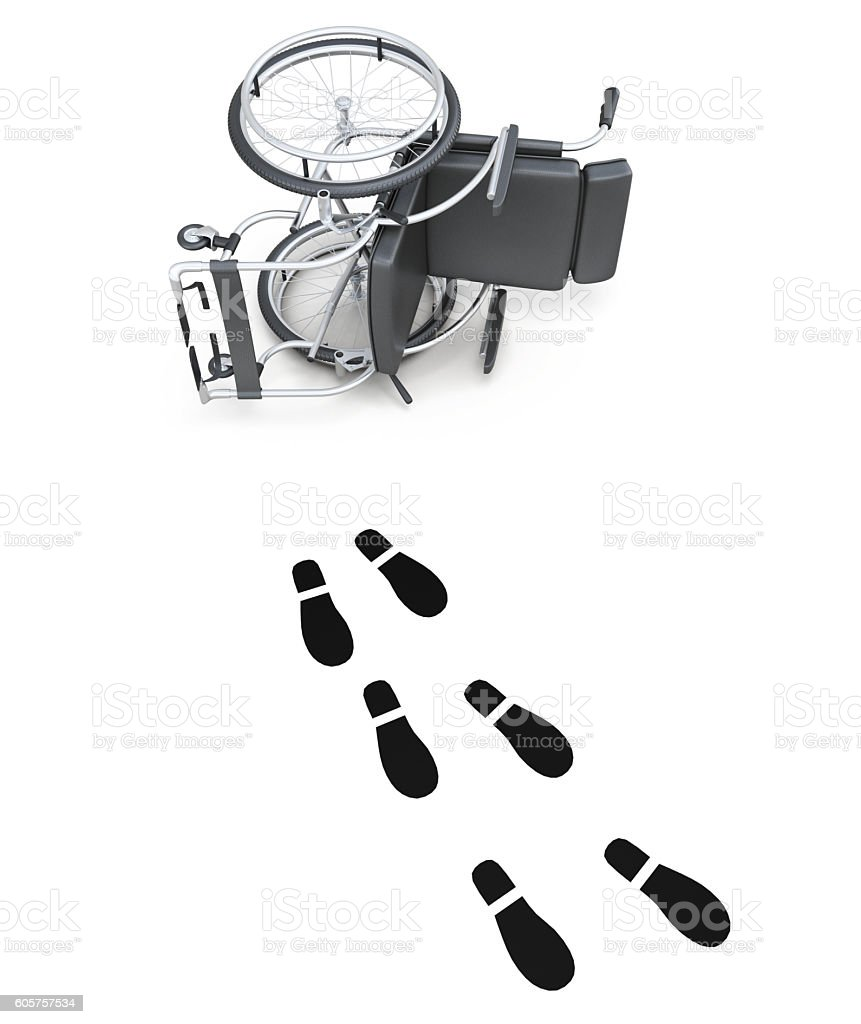 Overturned wheelchair and footprints on white background. 3d ren stock photo