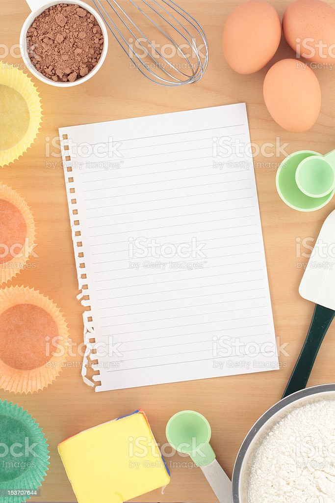 Overview Baking Cupcakes on Wood Bench royalty-free stock photo
