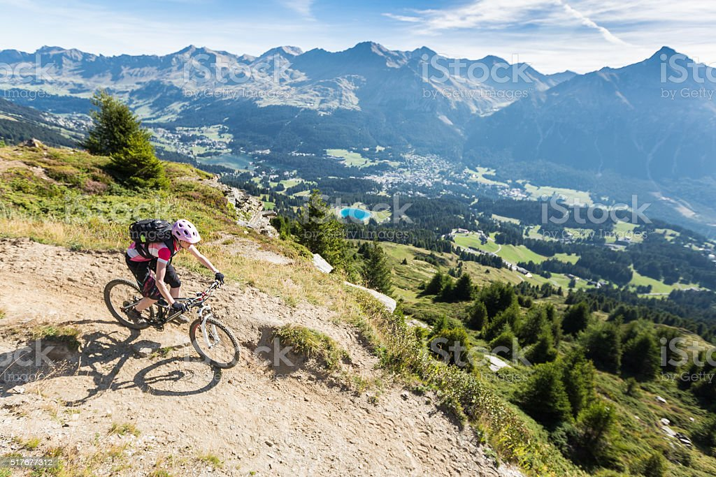 Overview Bikeparadise Lenzerheide, Graubünden , Switzerland stock photo