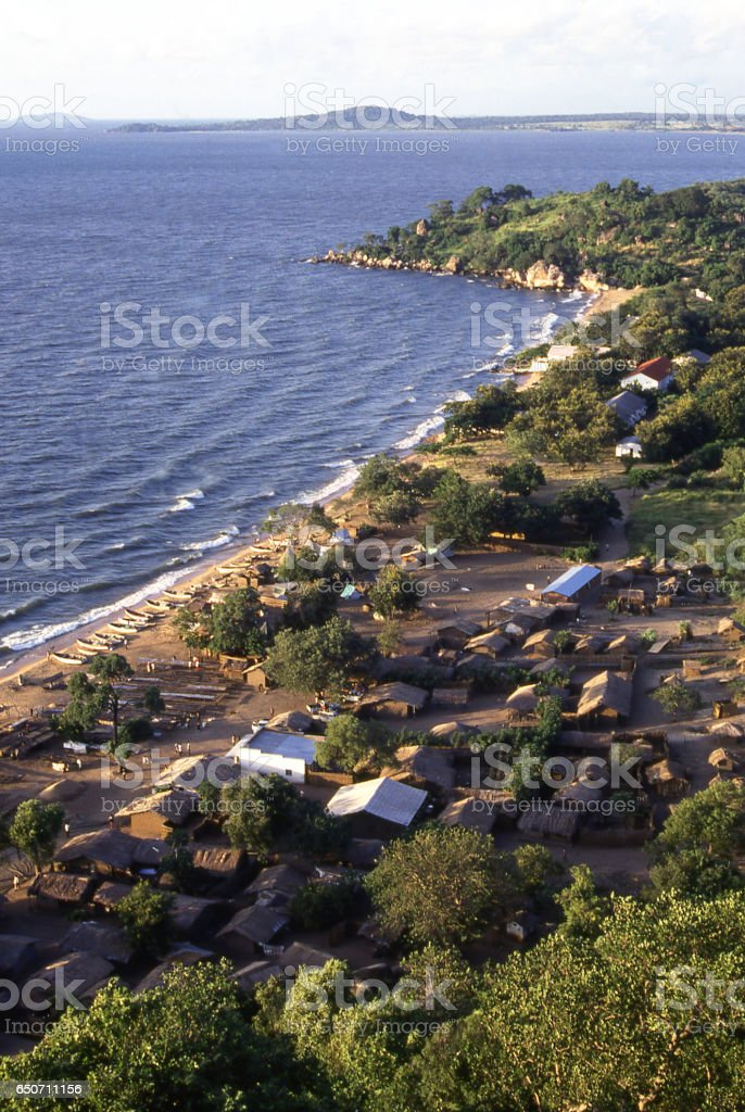 Overview from hill to shoreline along Lake Malawi Malawi Africa stock photo