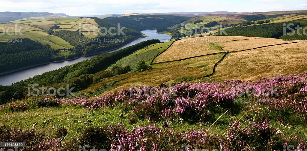 Overview Ladybower Reservoir at Peak District National Park stock photo