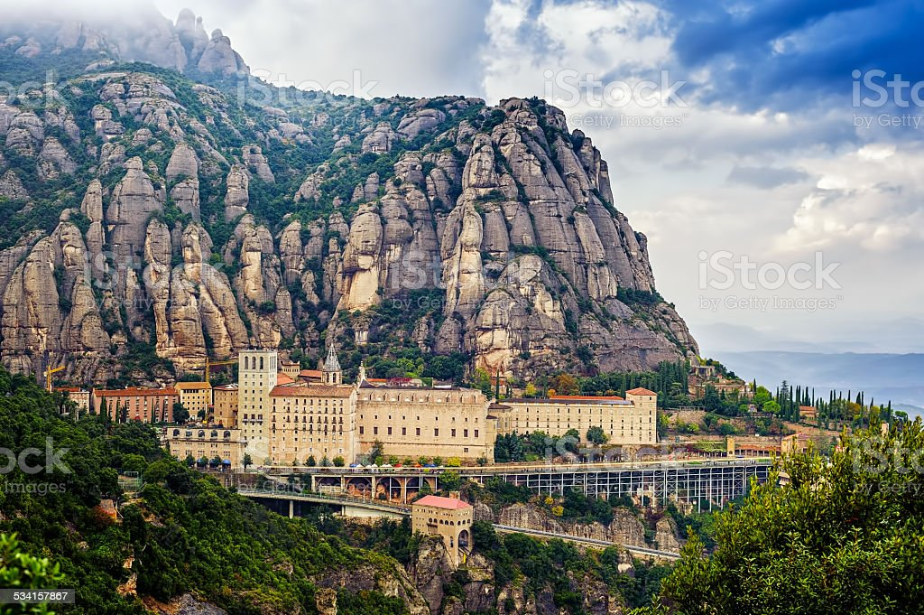 Overview Montserrat monastery stock photo