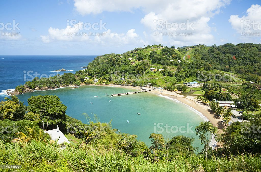 Overview of a Caribbean Bay stock photo