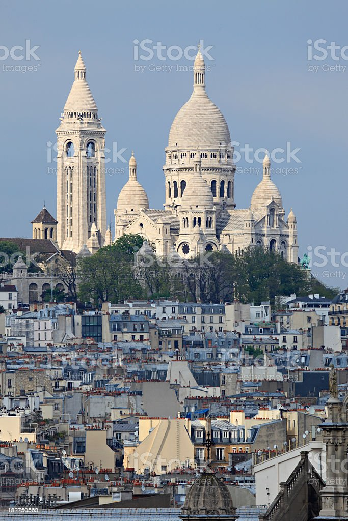 Overview of Basilica du Sacre Coeur stock photo