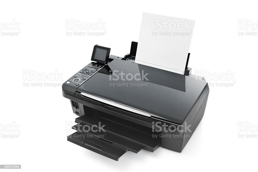 Overview of black printer isolated on white background stock photo