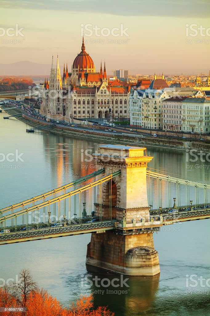 Overview of Budapest at sunrise stock photo