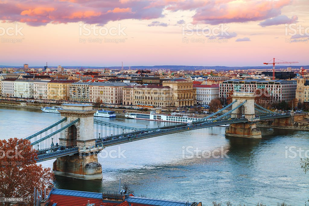 Overview of Budapest at sunset stock photo