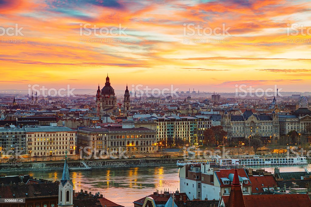 Overview of Budapest with St Stephen (St Istvan) Basilica stock photo
