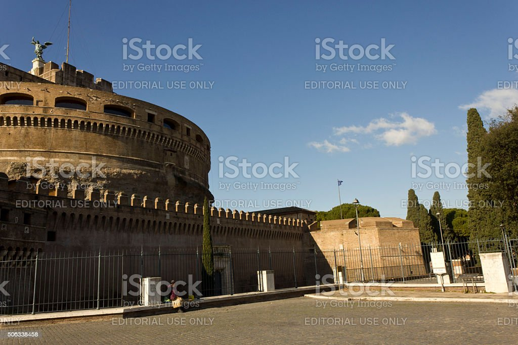 Overview of Castel Sant'Angelo in Rome stock photo
