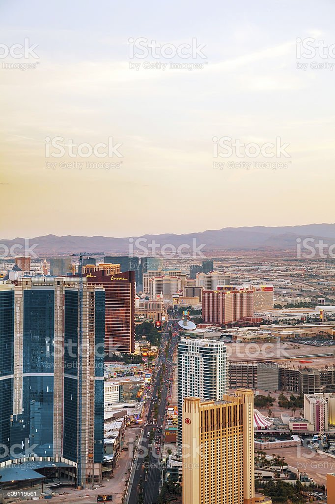 Overview of downtown Las Vegas in the evening stock photo