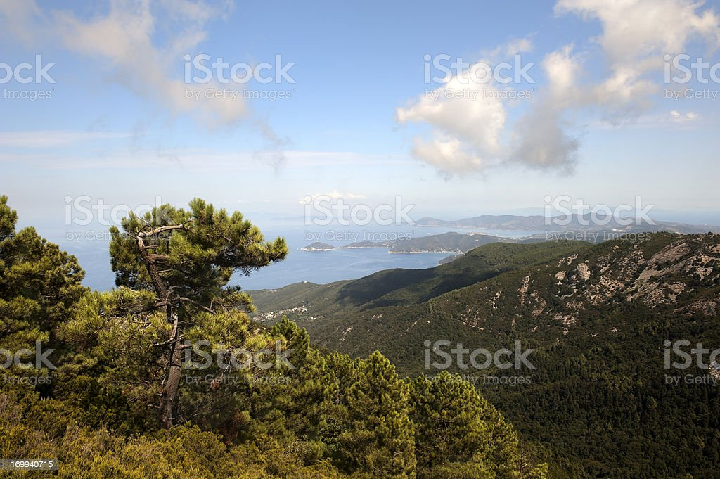 Overview of Elba island stock photo
