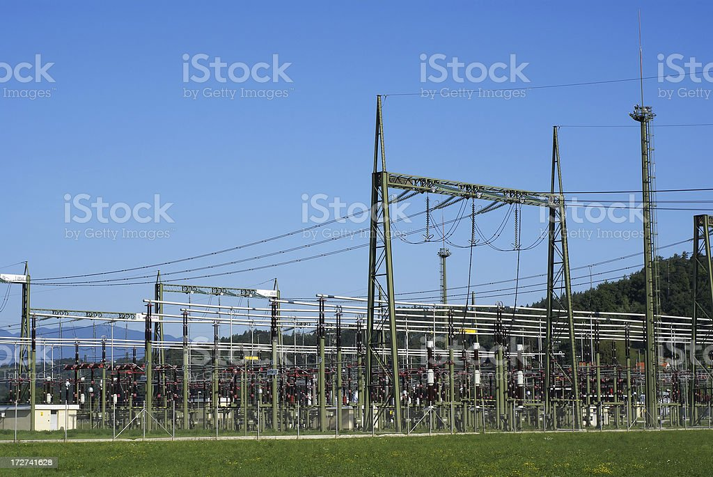 Overview of electrical substation stock photo