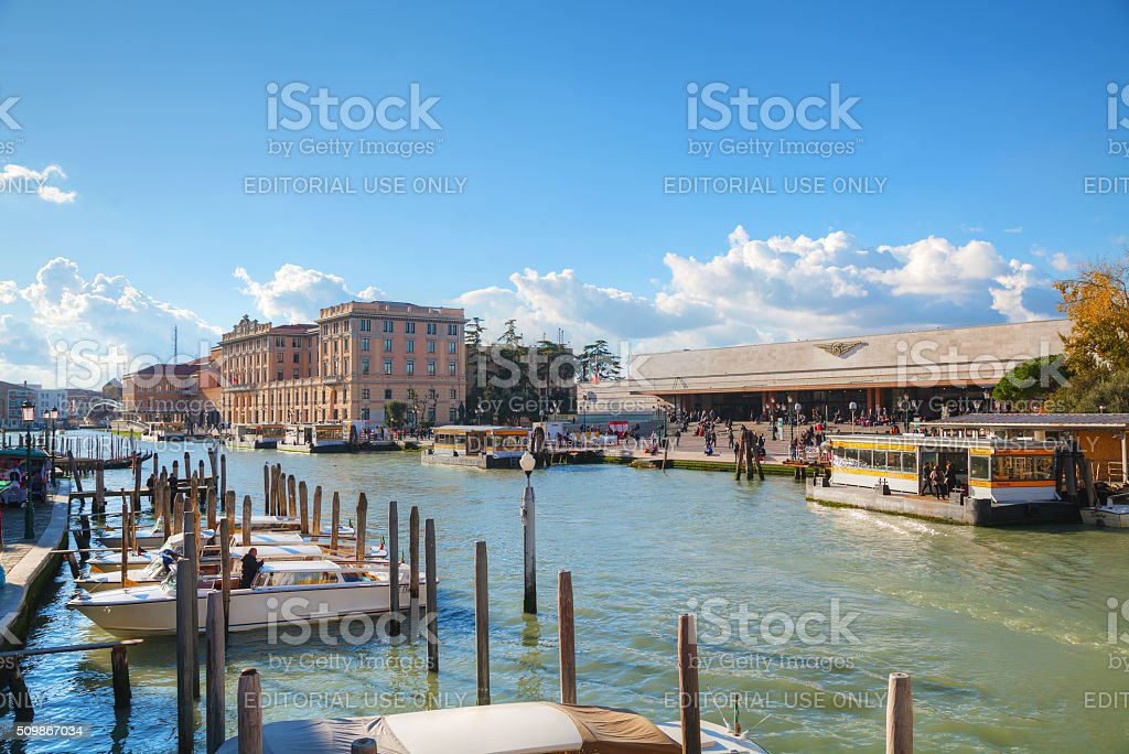 Overview of Grand Canal and train station in Venice stock photo