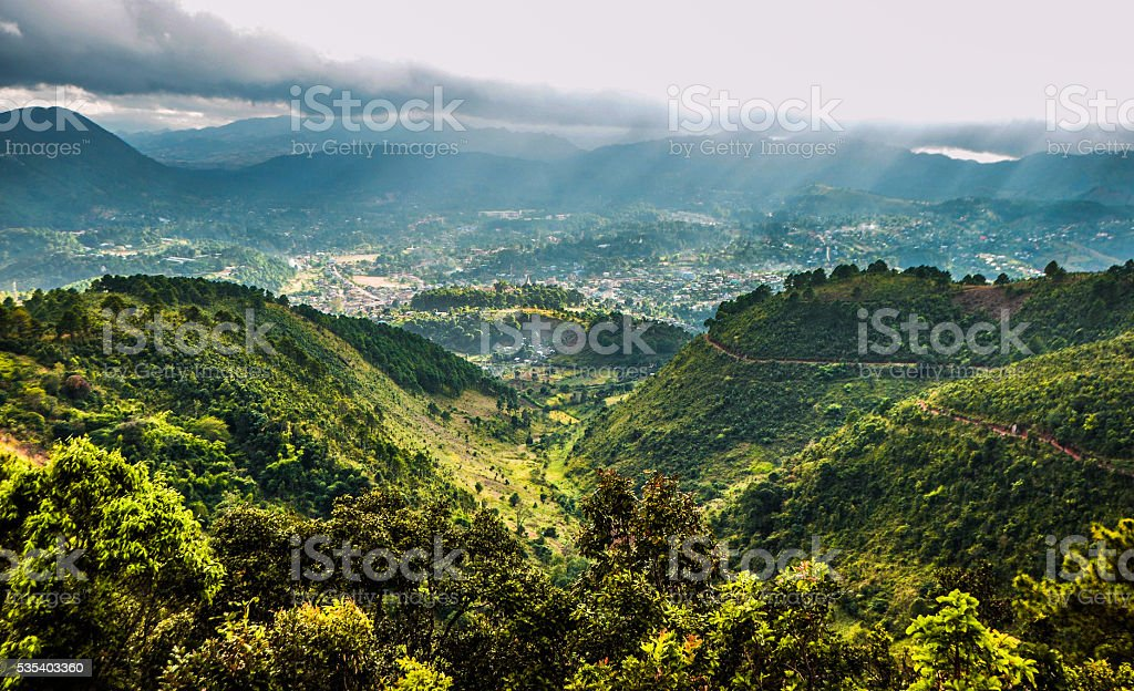 Overview of Kalaw town from the hill at Kalaw, Myanmar stock photo