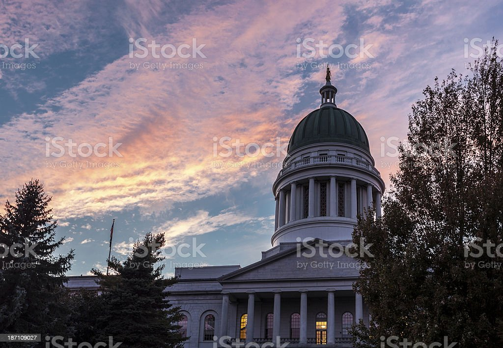 Overview of Maine State House against gorgeous sunset stock photo