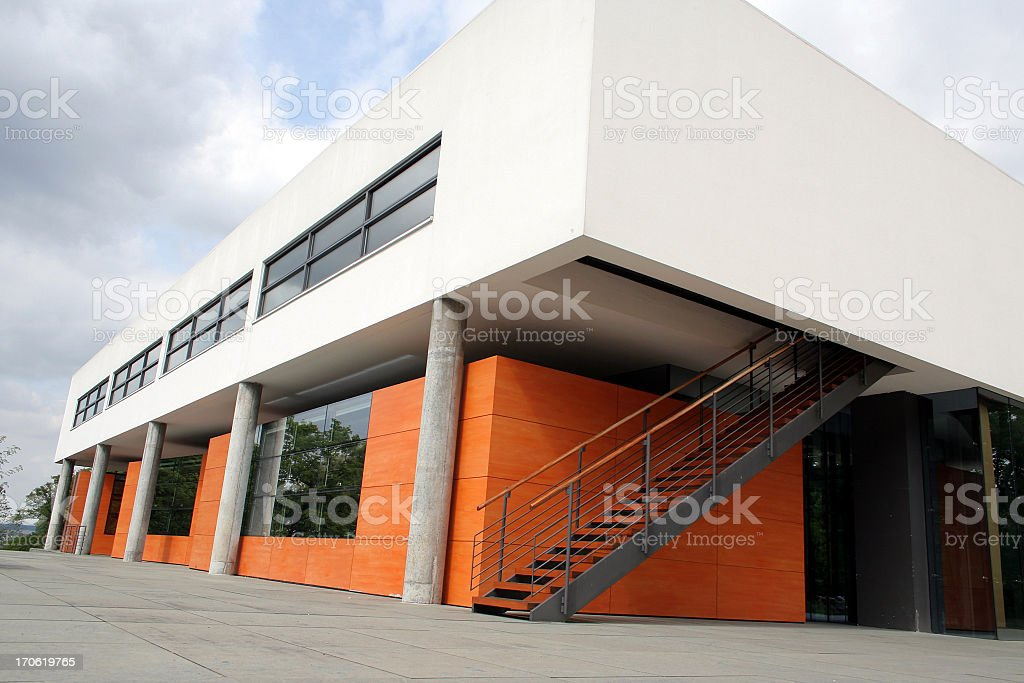 Overview of modern Bauhaus building stock photo
