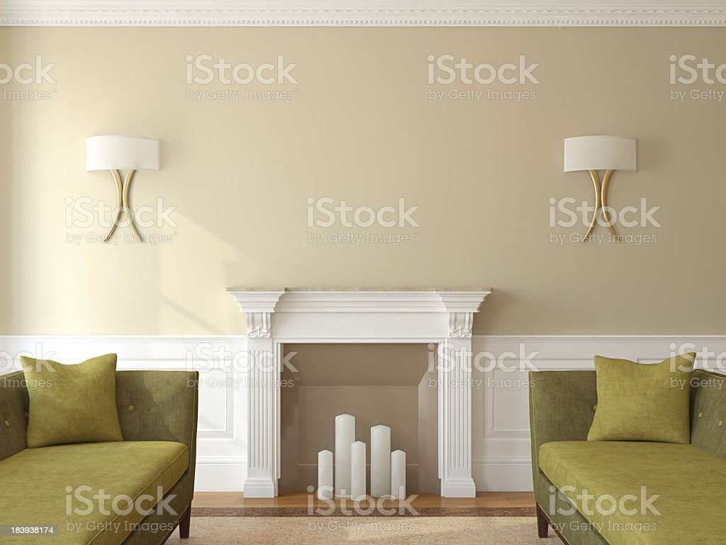 Overview of modern olive themed living room interior stock photo