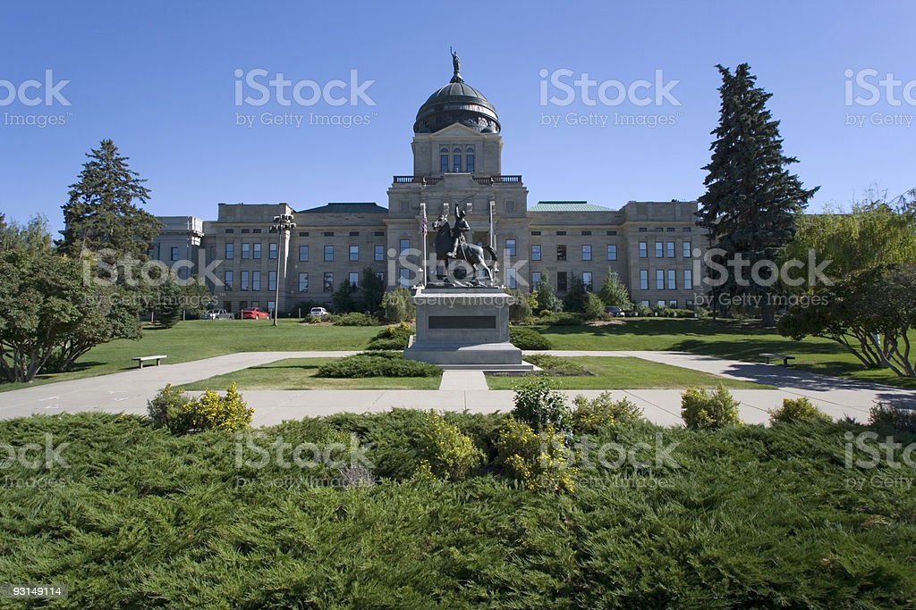 Overview of Montana State Capitol building stock photo