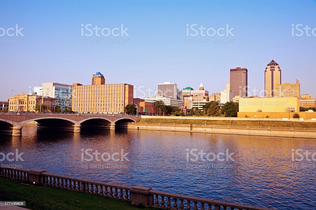 Overview of morning scene of Des Moines stock photo