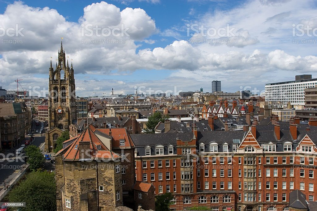 Overview of Newcastle, England stock photo