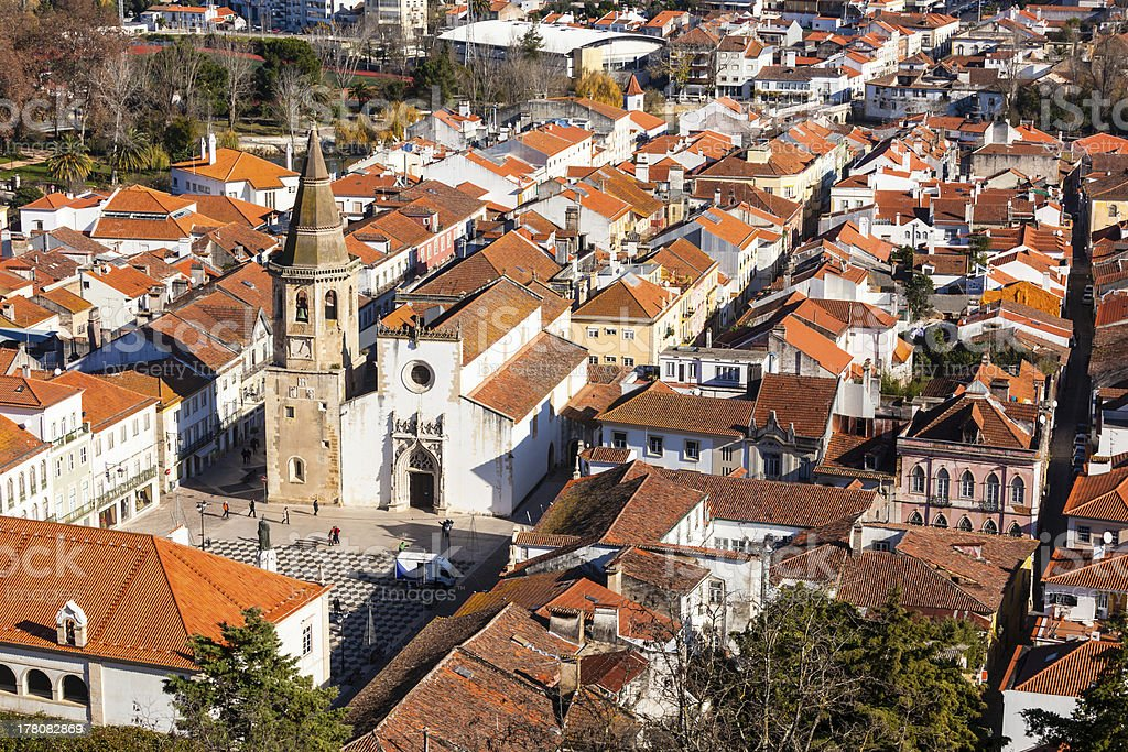 Overview of Old Town Tomar, Portugal. stock photo
