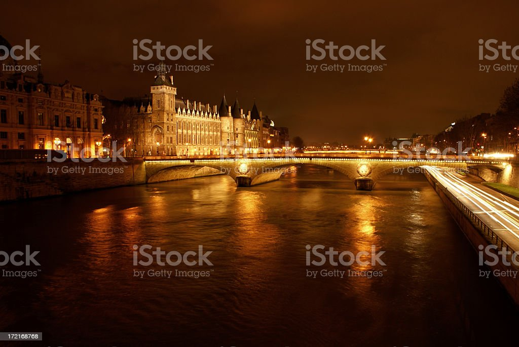 Overview of Paris cityscape illuminated at night stock photo