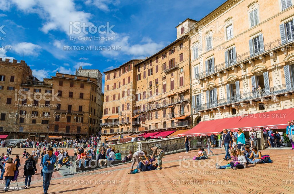 Overview of Piazza del Campo in Siena (Tuscany, Italy) stock photo