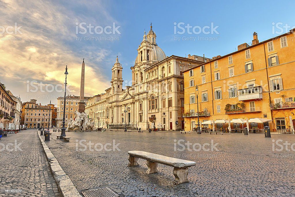 Overview of Piazza Navona, Rome stock photo