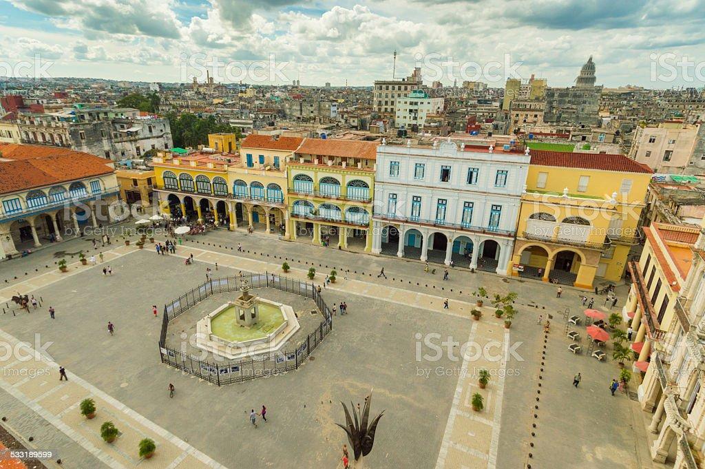 Overview of Plaza Vieja, Havanna, Cuba stock photo