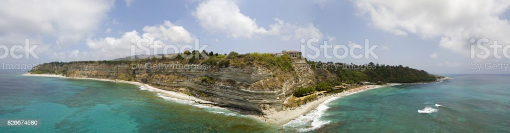Overview of Ricadi Beach, Torre Marino, promontory aerial view, cliffs and sand. Summer vacations in Calabria, Italy stock photo