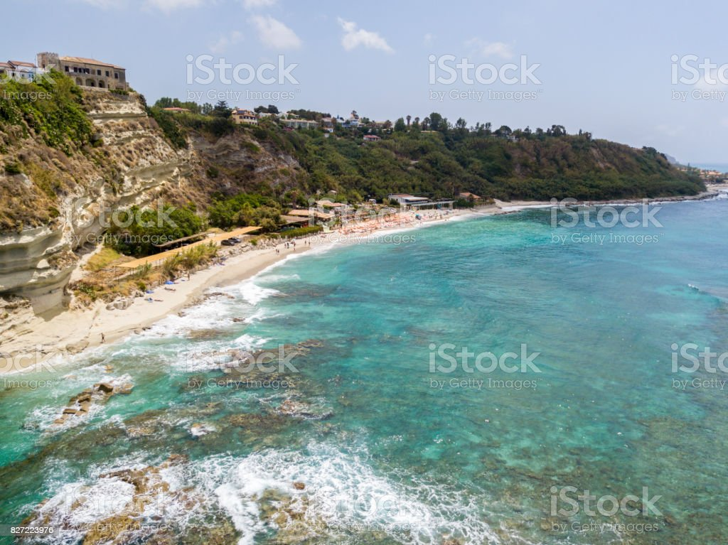 Overview of Ricadi Beach, Tower Marino, Vatican City, promontory aerial view, cliffs and sand. Summer vacations in Calabria, Italy stock photo