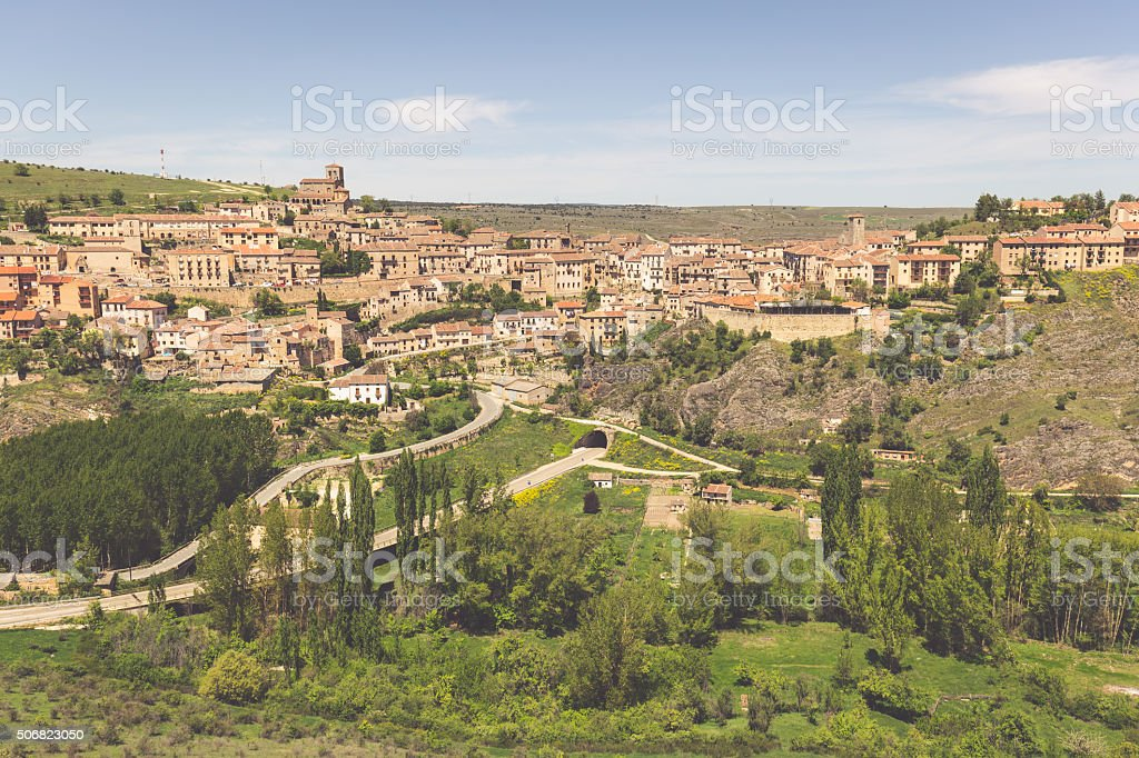 Overview of Sepulveda, in the province of Segovia, Spain stock photo