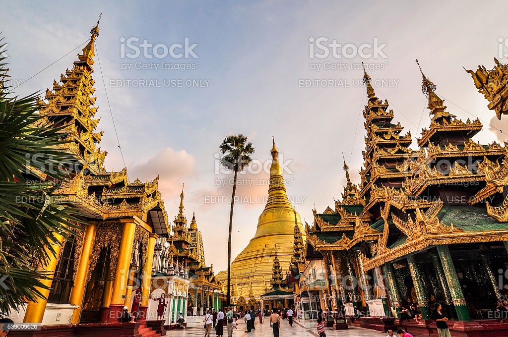 Overview of Shwedagon Paya in Myanmar stock photo